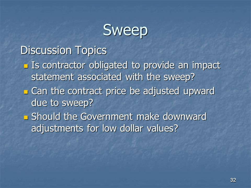 Sweep Discussion Topics