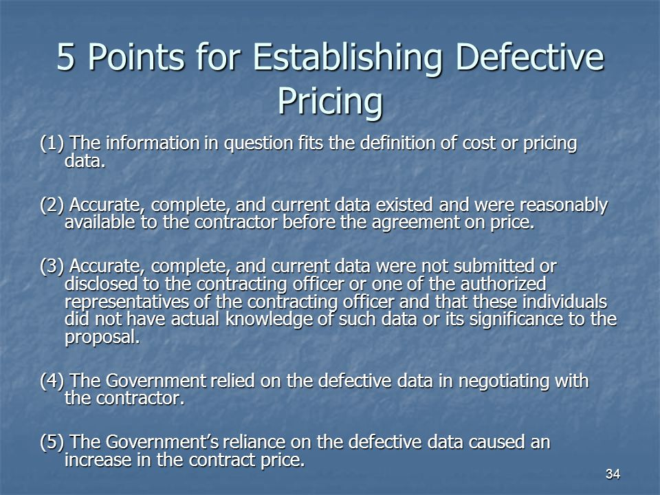 5 Points for Establishing Defective Pricing
