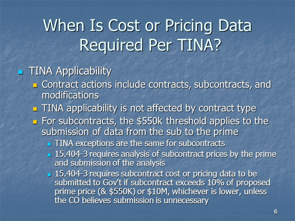 When Is Cost or Pricing Data Required Per TINA