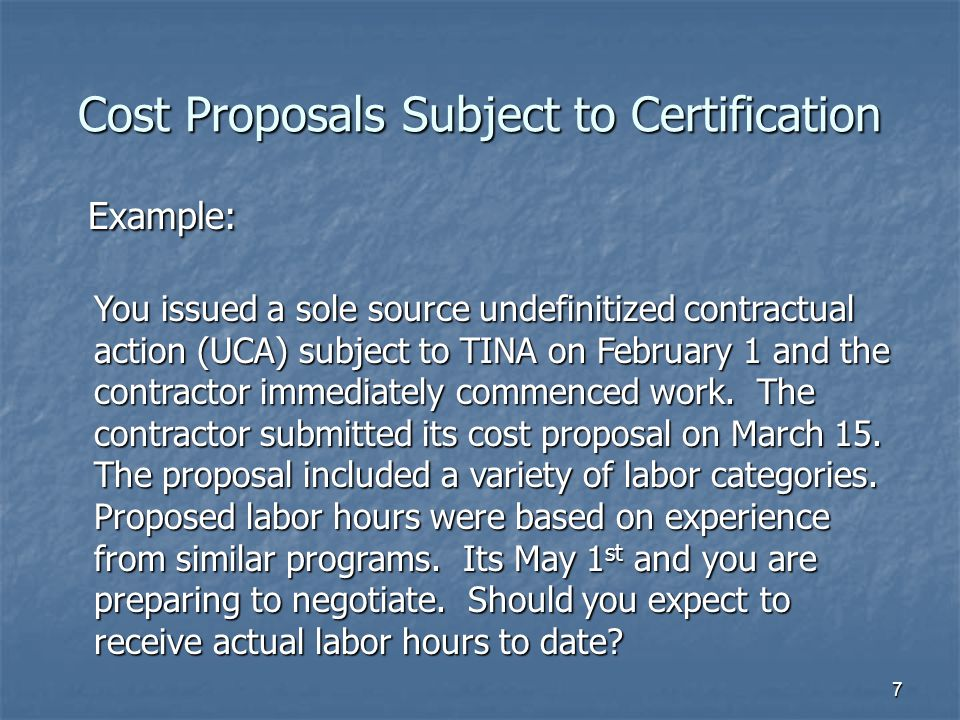 Cost Proposals Subject to Certification