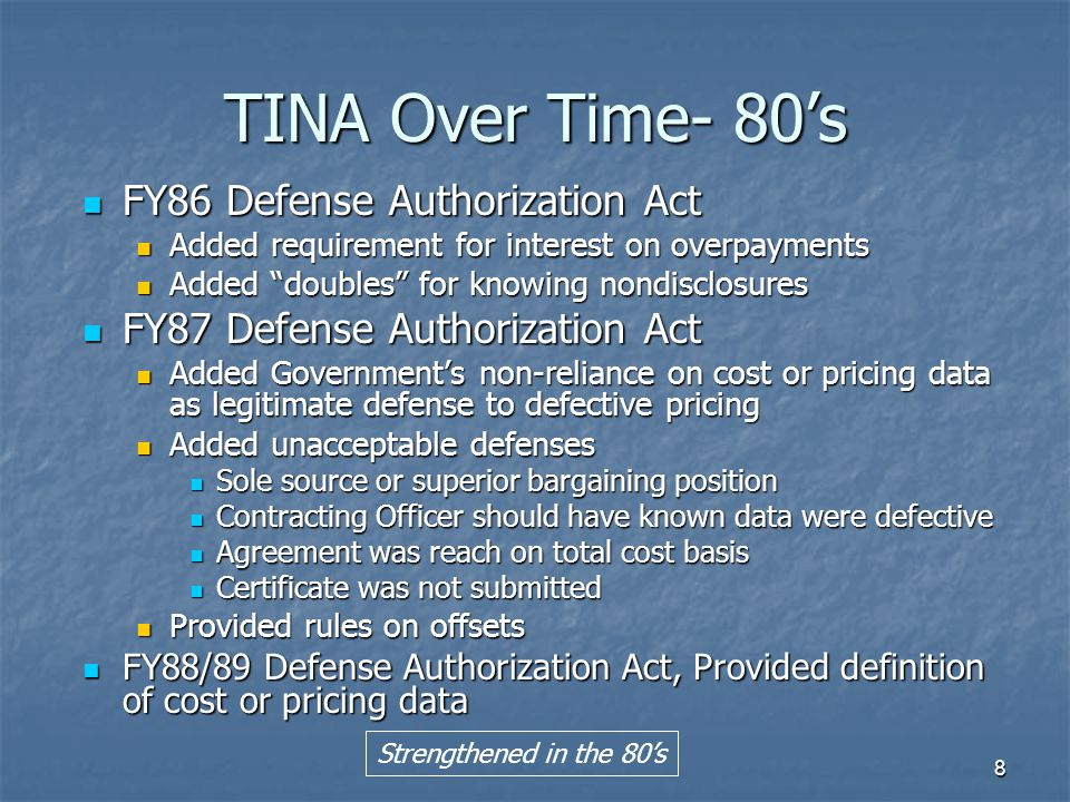 TINA Over Time- 80's FY86 Defense Authorization Act