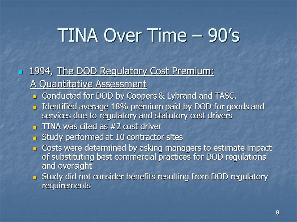 TINA Over Time – 90's 1994, The DOD Regulatory Cost Premium: