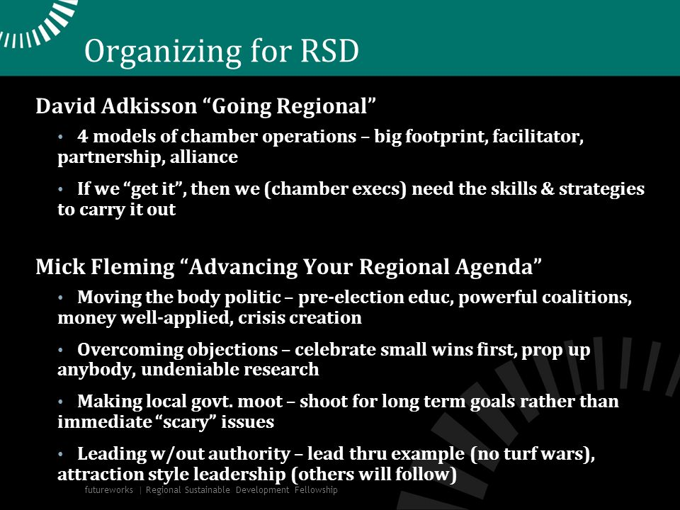 Organizing for RSD David Adkisson Going Regional