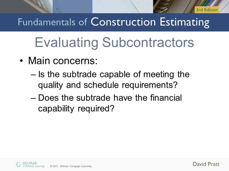 Evaluating Subcontractors