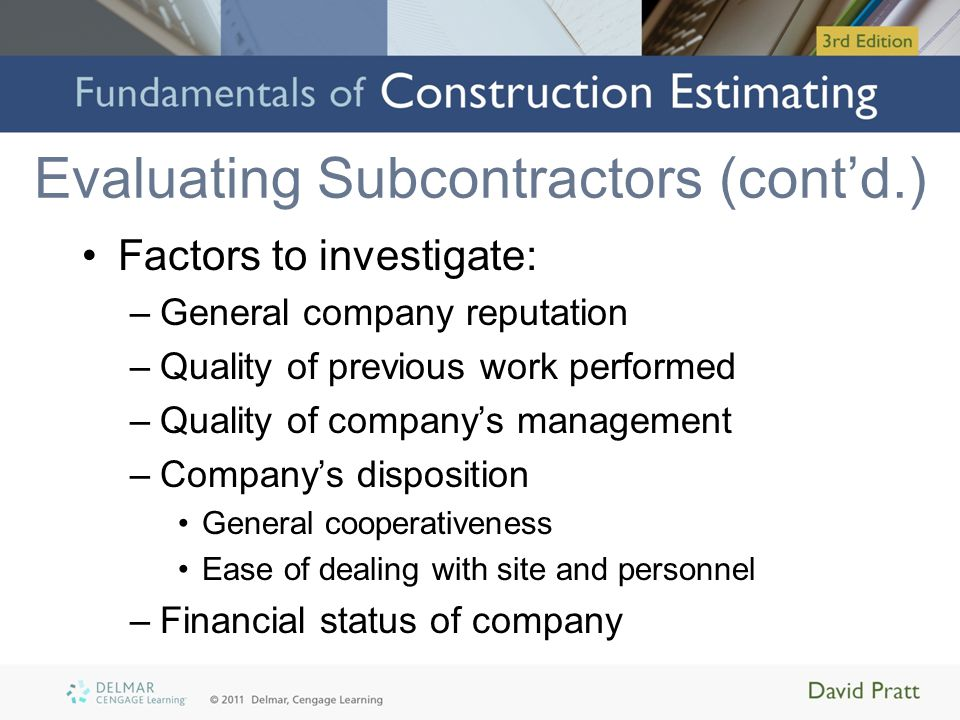 Evaluating Subcontractors (cont'd.)