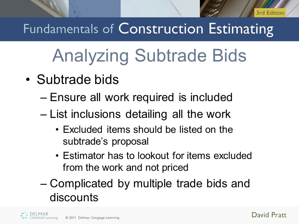 Analyzing Subtrade Bids