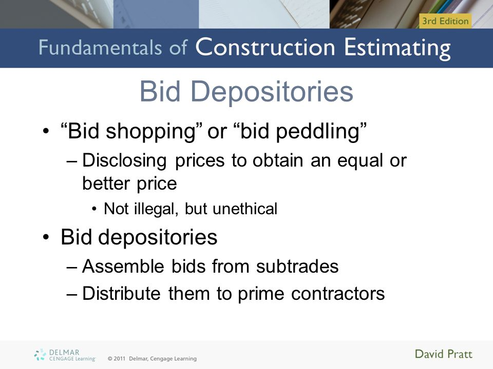 Bid Depositories Bid shopping or bid peddling Bid depositories