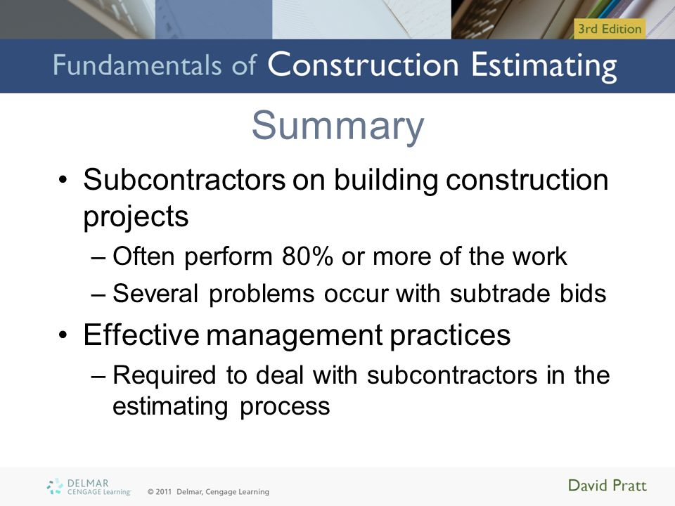 Summary Subcontractors on building construction projects