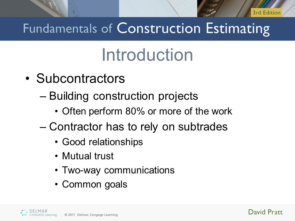 Introduction Subcontractors Building construction projects