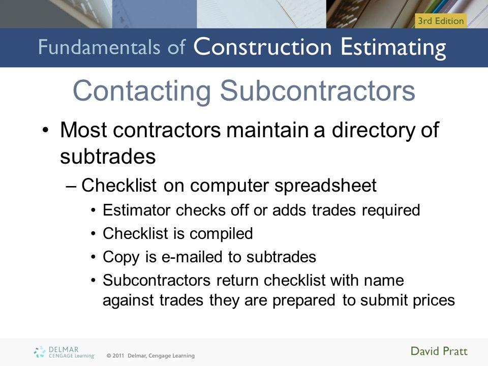Contacting Subcontractors