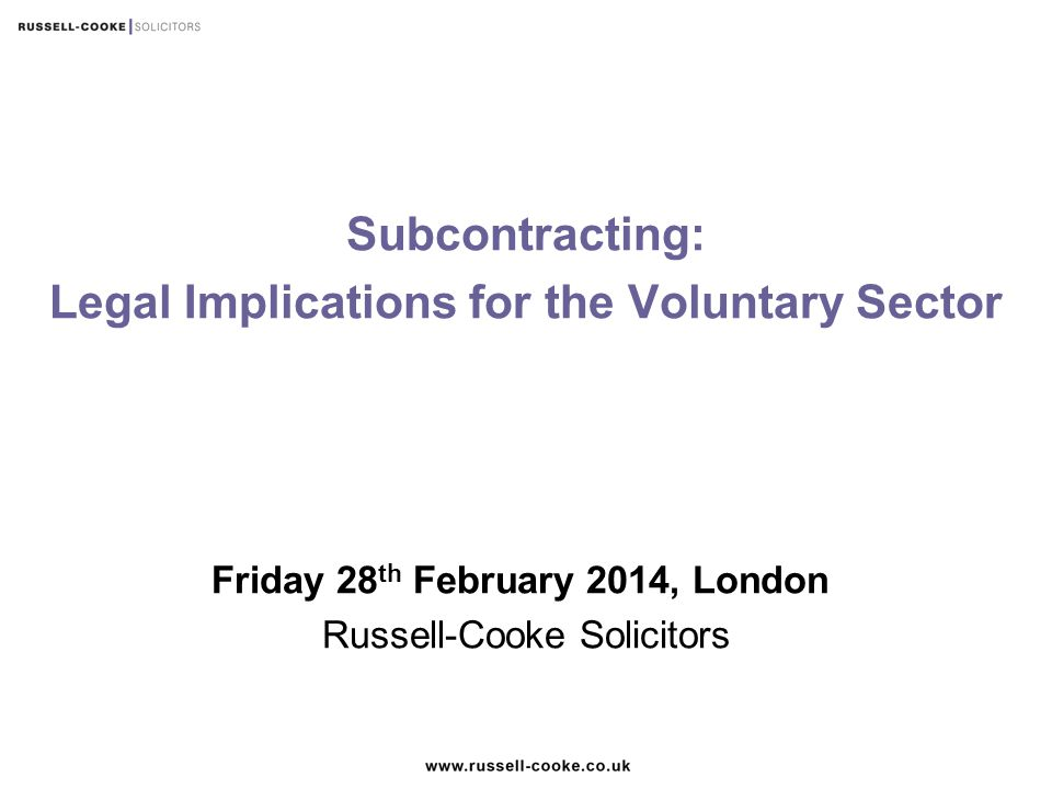 Legal Implications for the Voluntary Sector