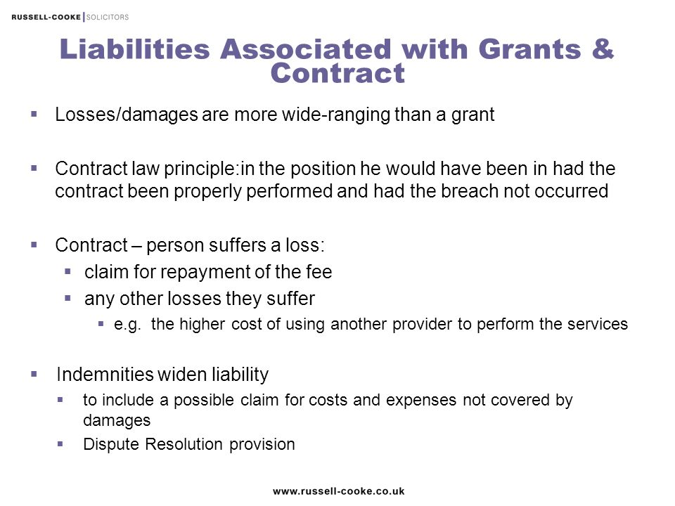 Liabilities Associated with Grants & Contract