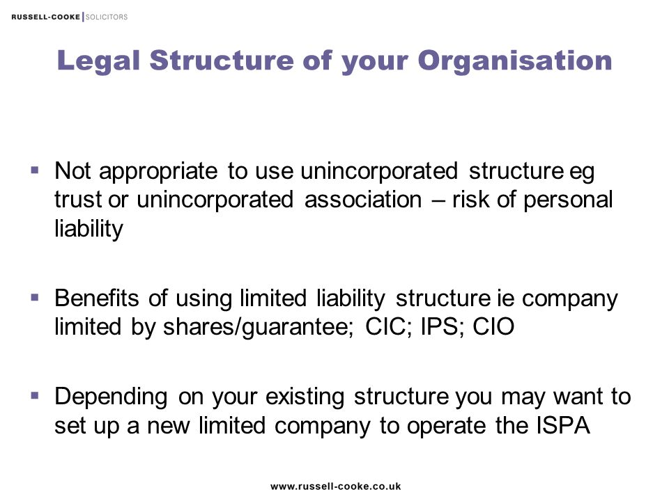 Legal Structure of your Organisation