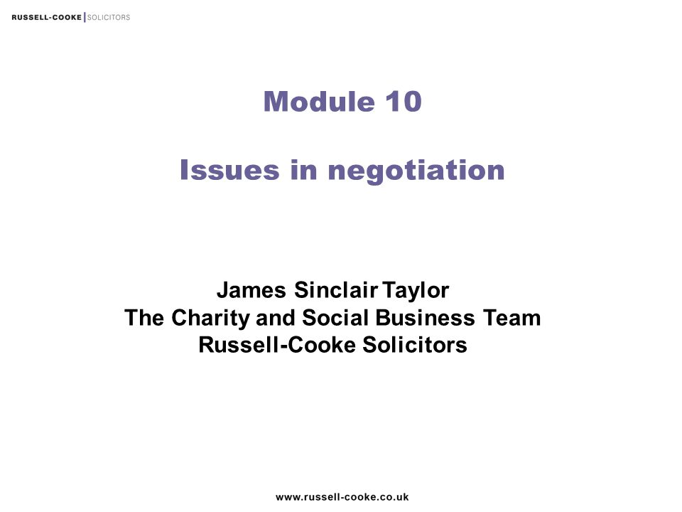 Module 10 Issues in negotiation