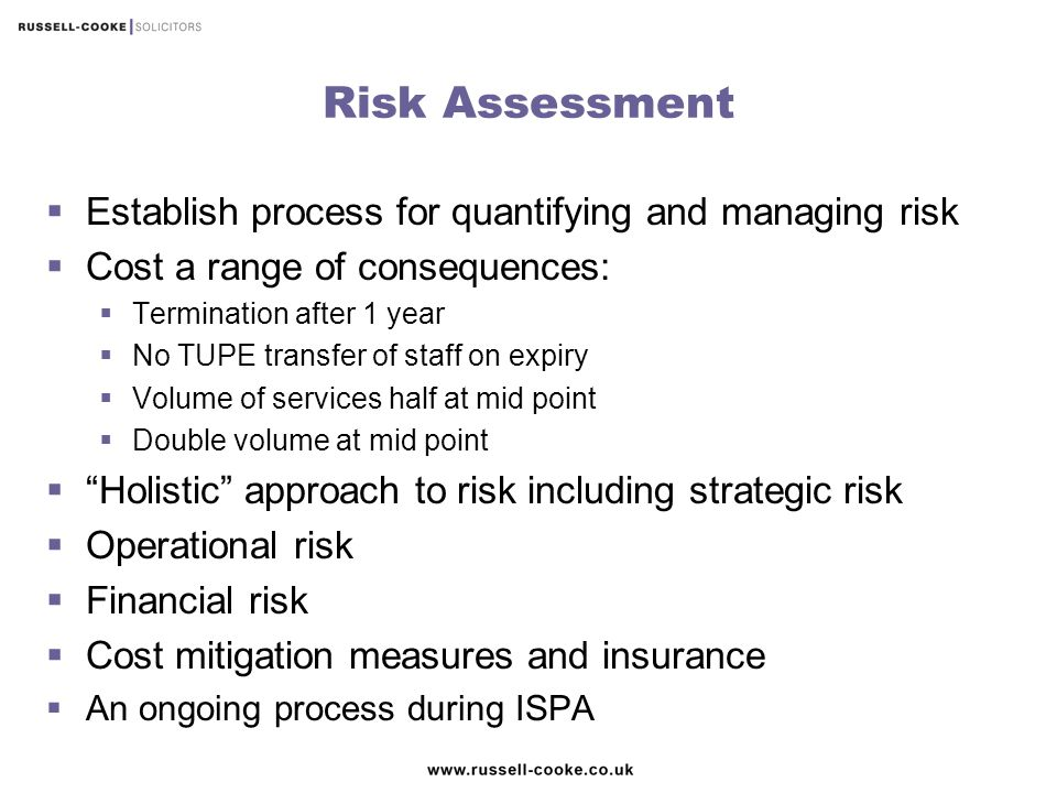 Risk Assessment Establish process for quantifying and managing risk
