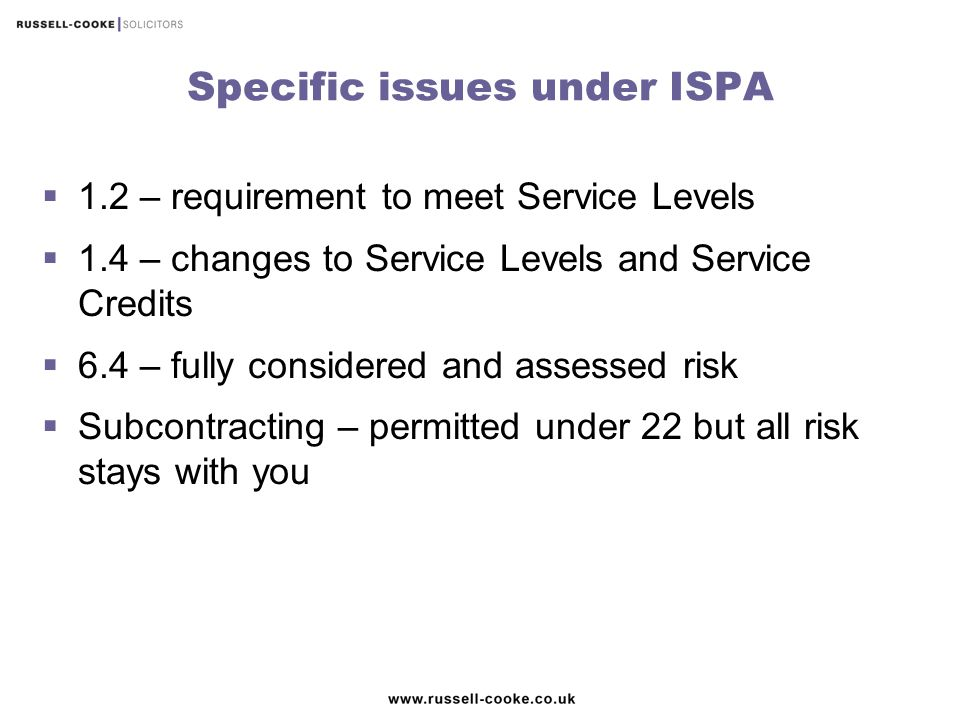 Specific issues under ISPA