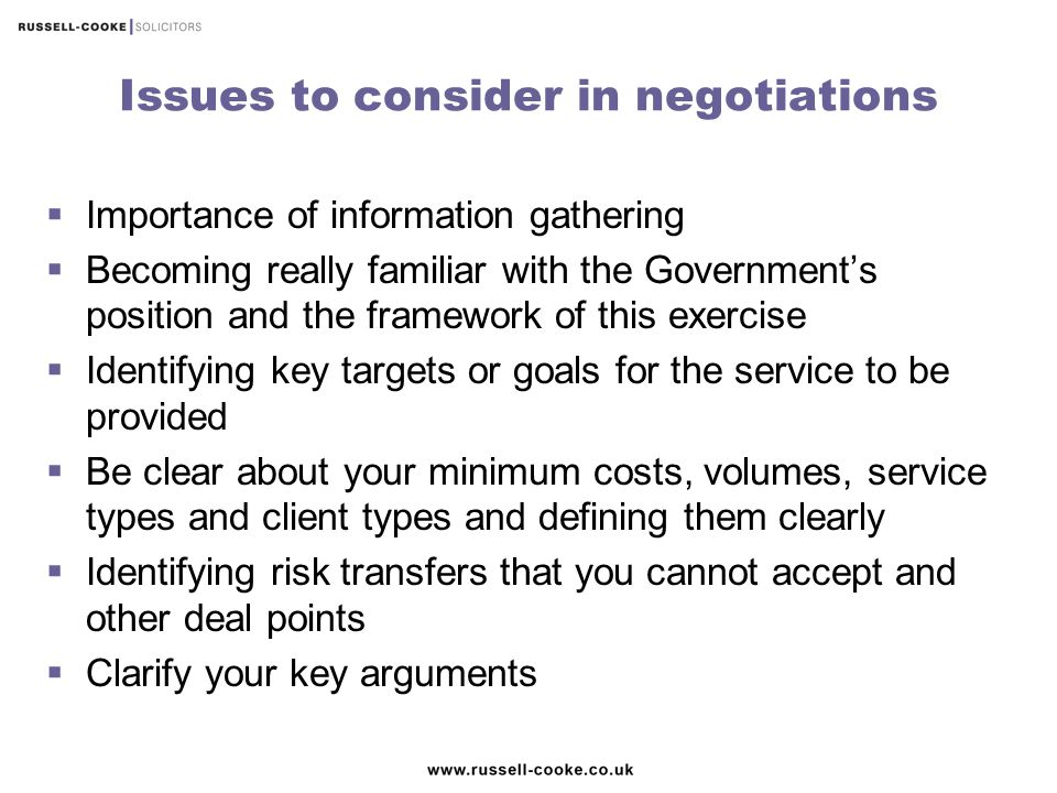 Issues to consider in negotiations