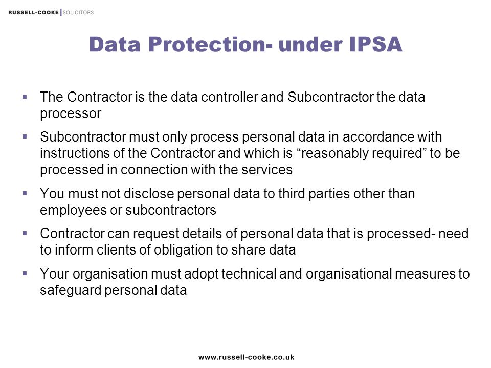 Data Protection- under IPSA