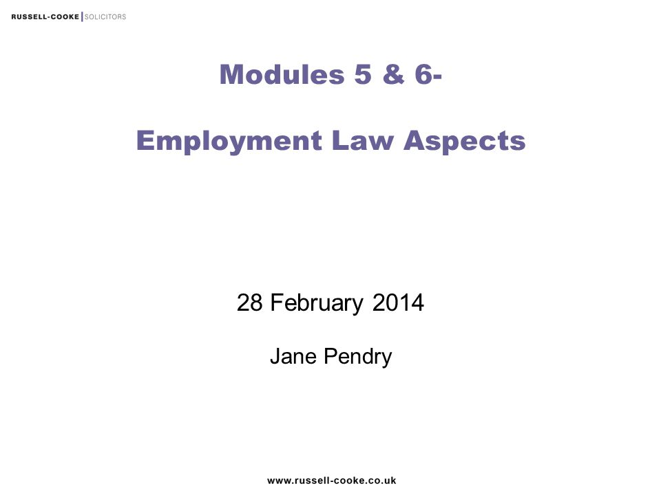 Modules 5 & 6- Employment Law Aspects