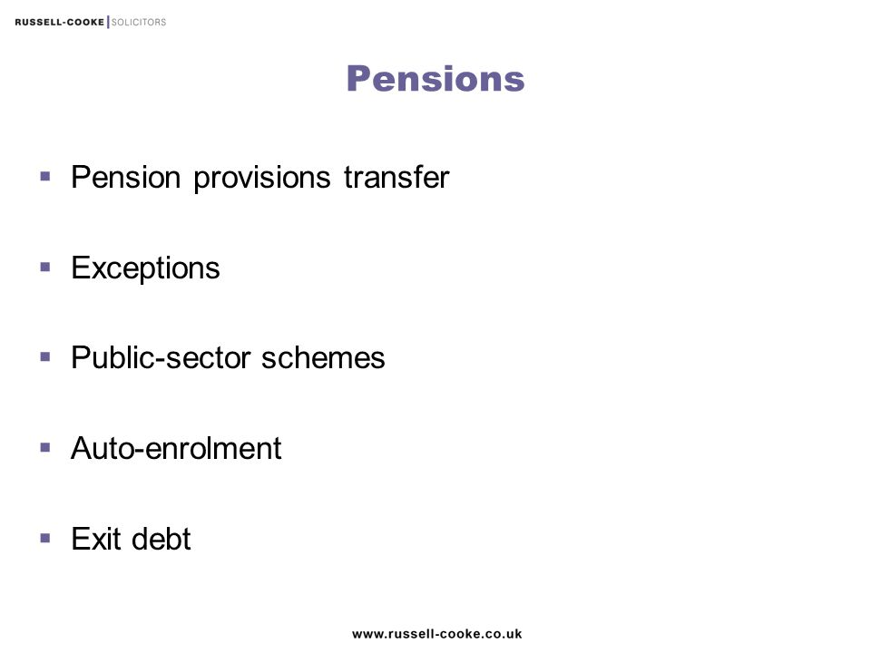 Pensions Pension provisions transfer Exceptions Public-sector schemes