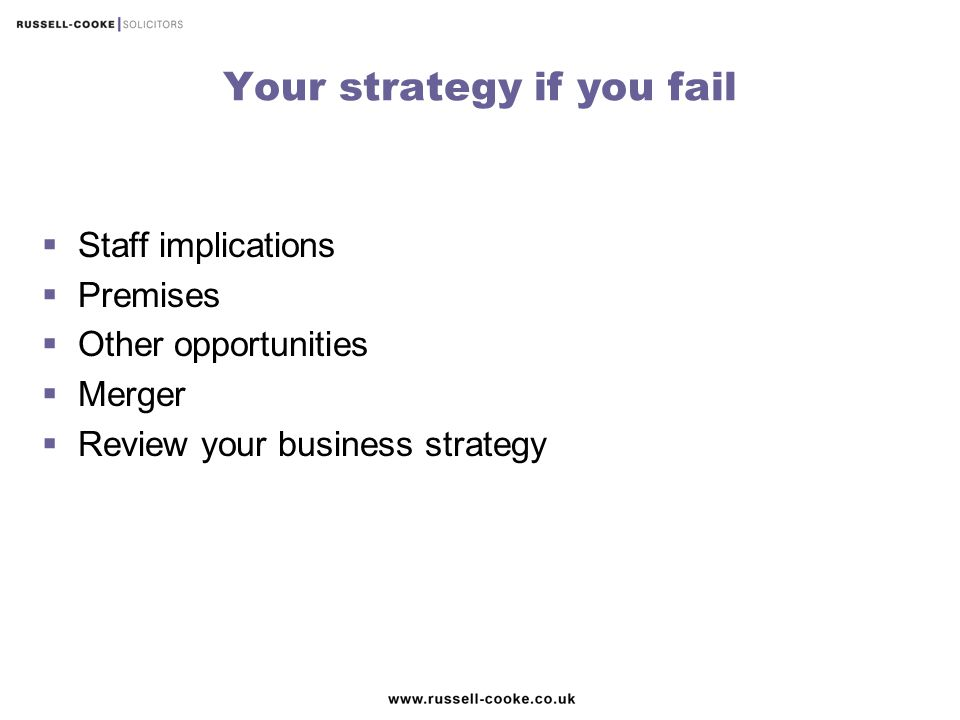 Your strategy if you fail