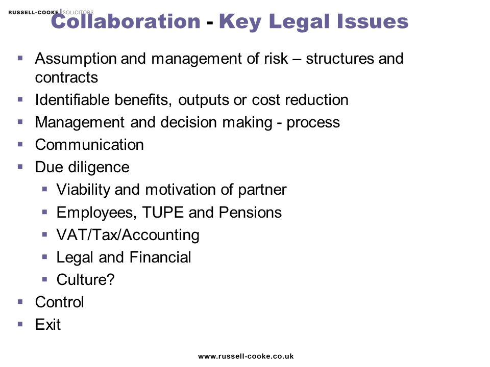 Collaboration - Key Legal Issues