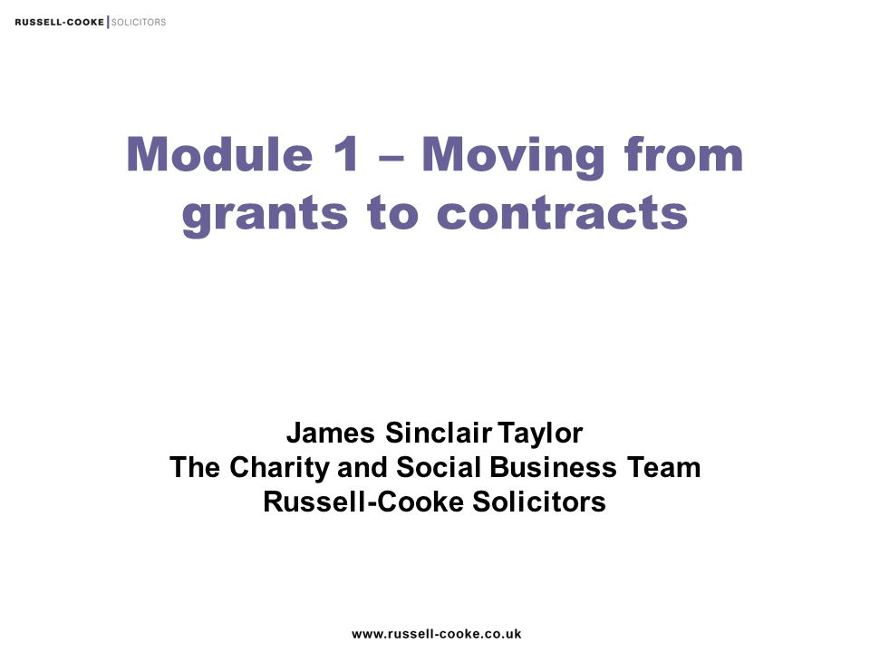 Module 1 – Moving from grants to contracts