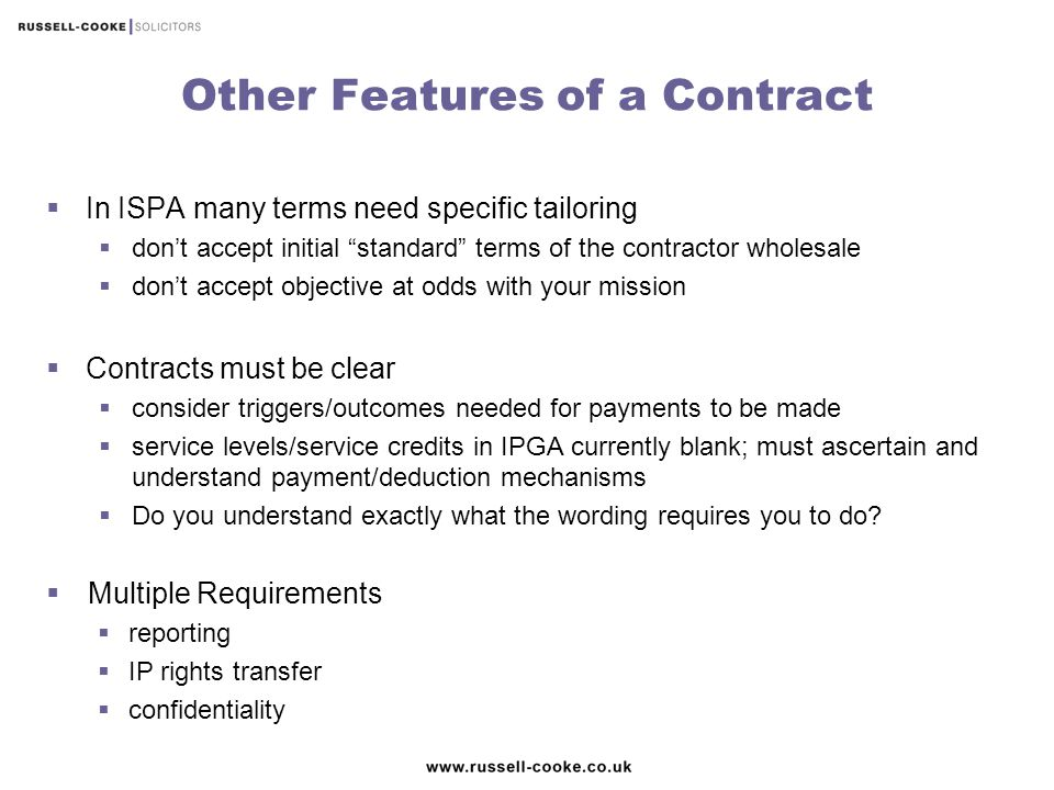 Other Features of a Contract