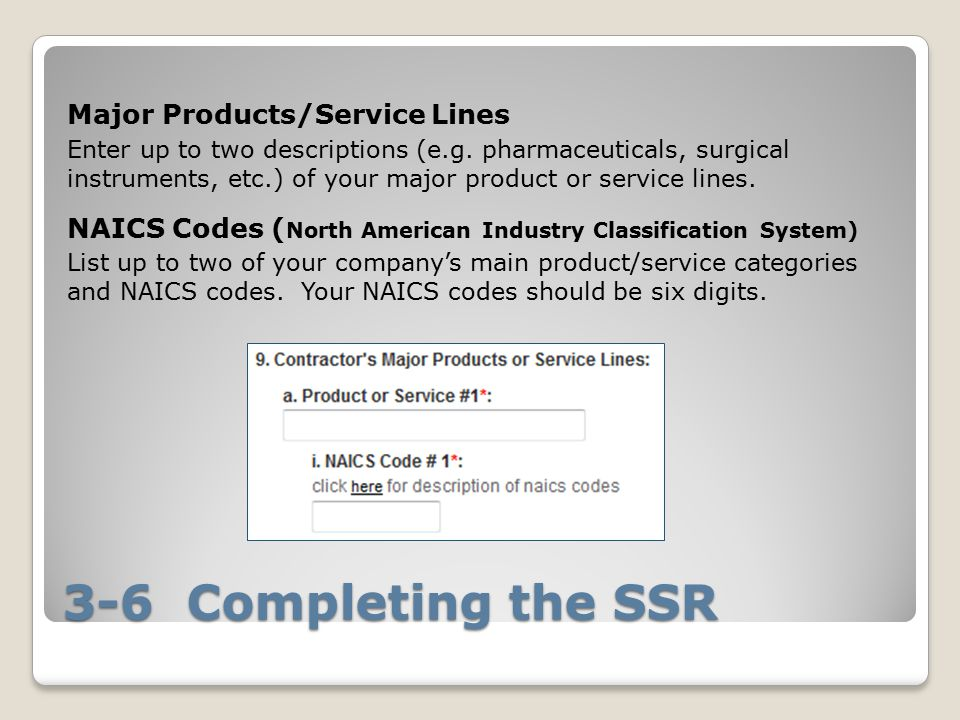 3-6 Completing the SSR Major Products/Service Lines