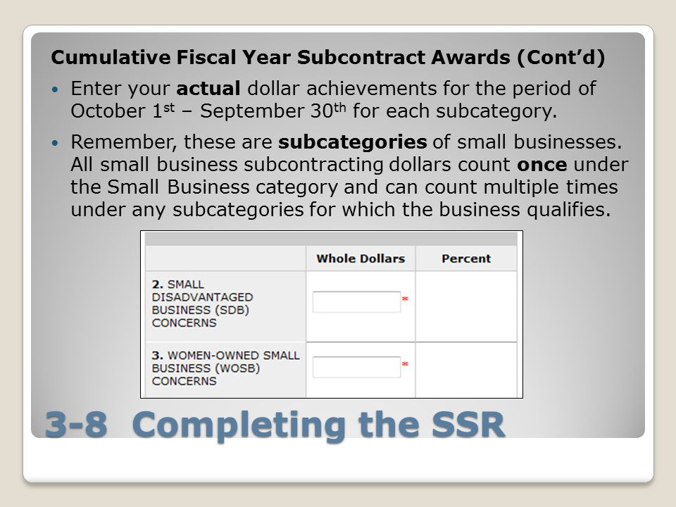 Cumulative Fiscal Year Subcontract Awards (Cont'd)