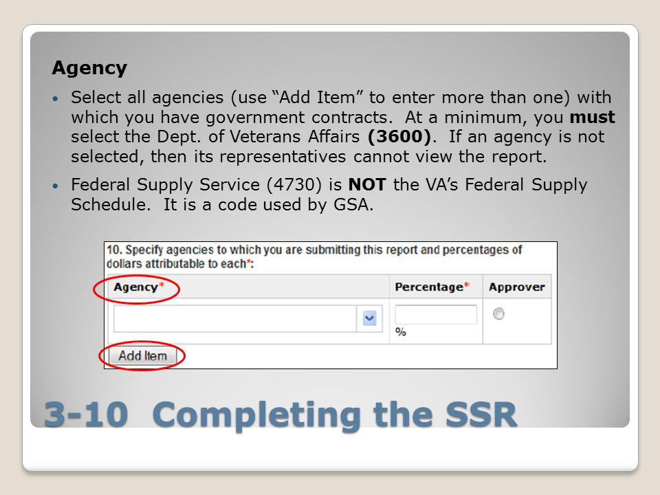 3-10 Completing the SSR Agency