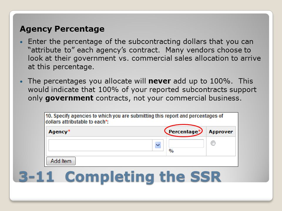 3-11 Completing the SSR Agency Percentage