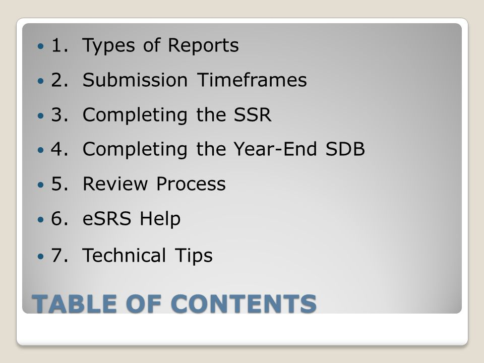 TABLE OF CONTENTS 1. Types of Reports 2. Submission Timeframes