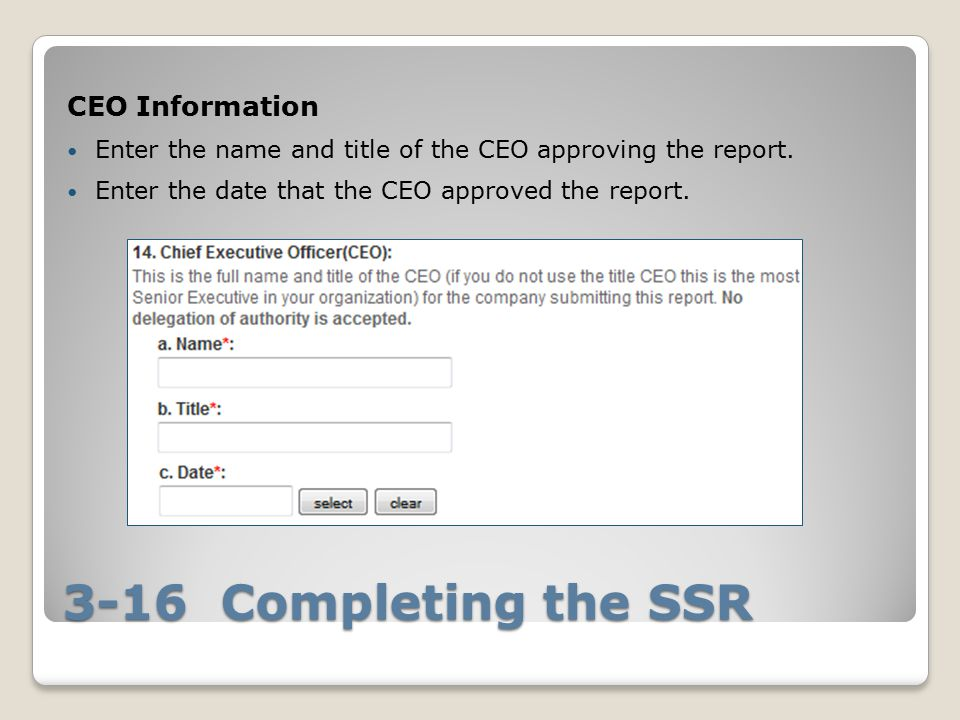 3-16 Completing the SSR CEO Information