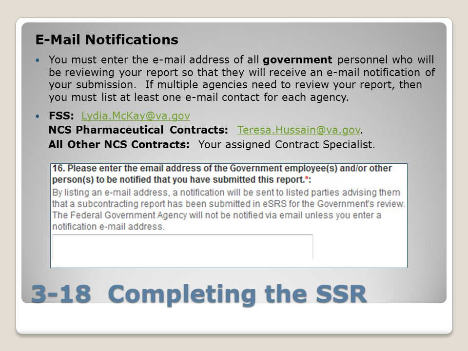 3-18 Completing the SSR E-Mail Notifications