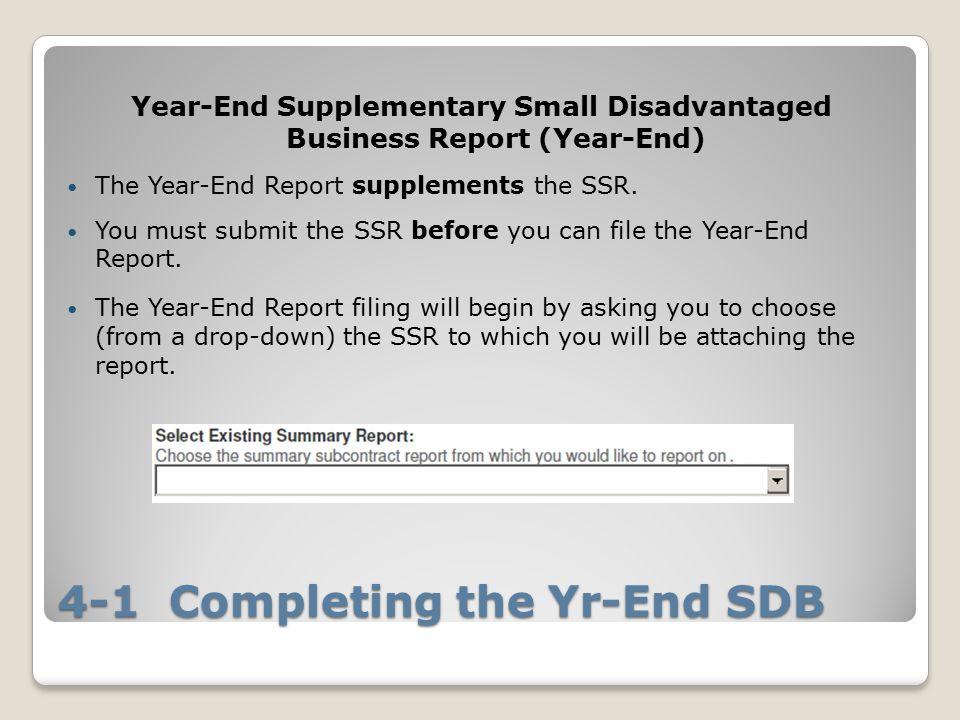 4-1 Completing the Yr-End SDB