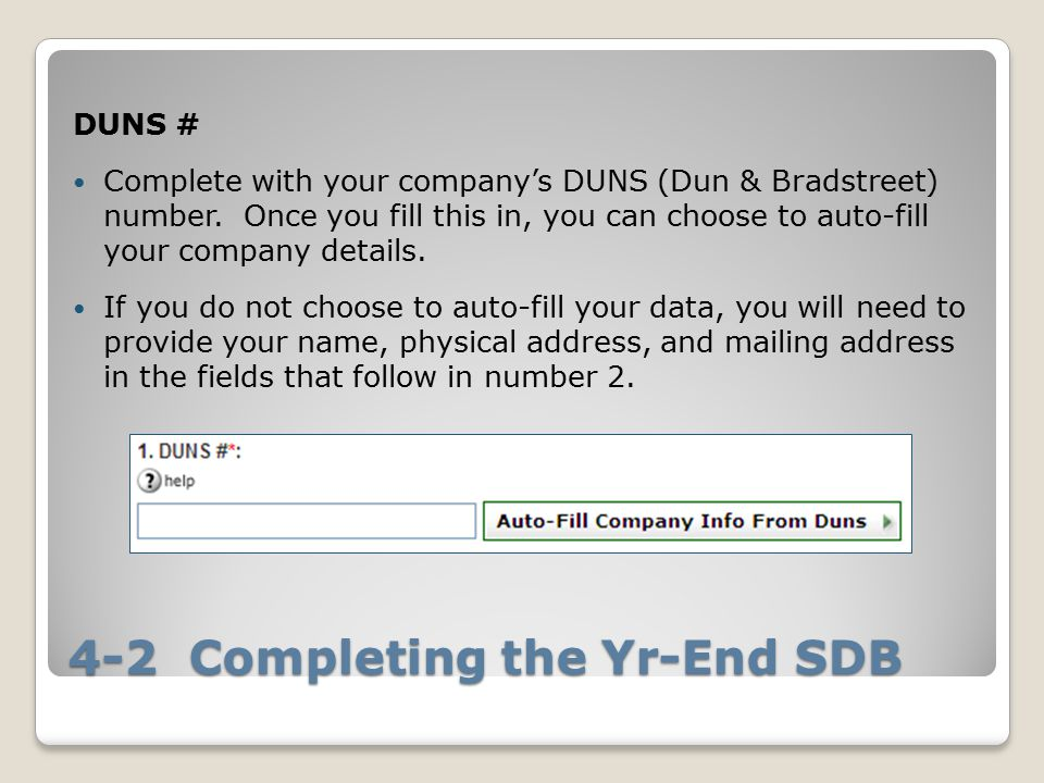 4-2 Completing the Yr-End SDB