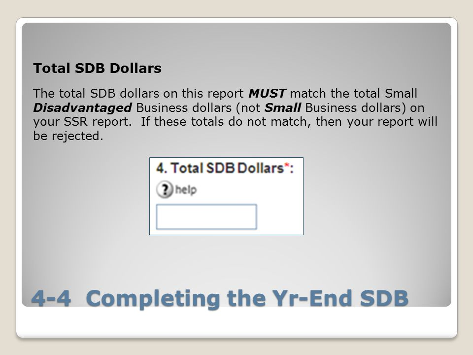 4-4 Completing the Yr-End SDB