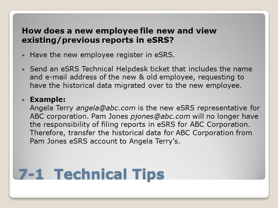 How does a new employee file new and view existing/previous reports in eSRS