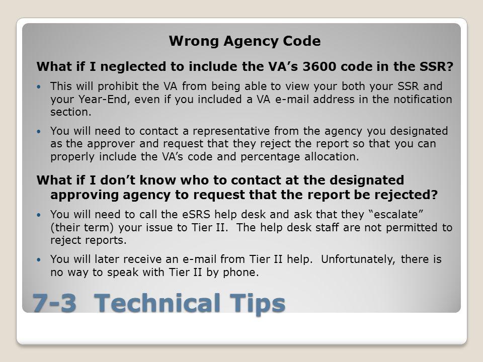 7-3 Technical Tips Wrong Agency Code