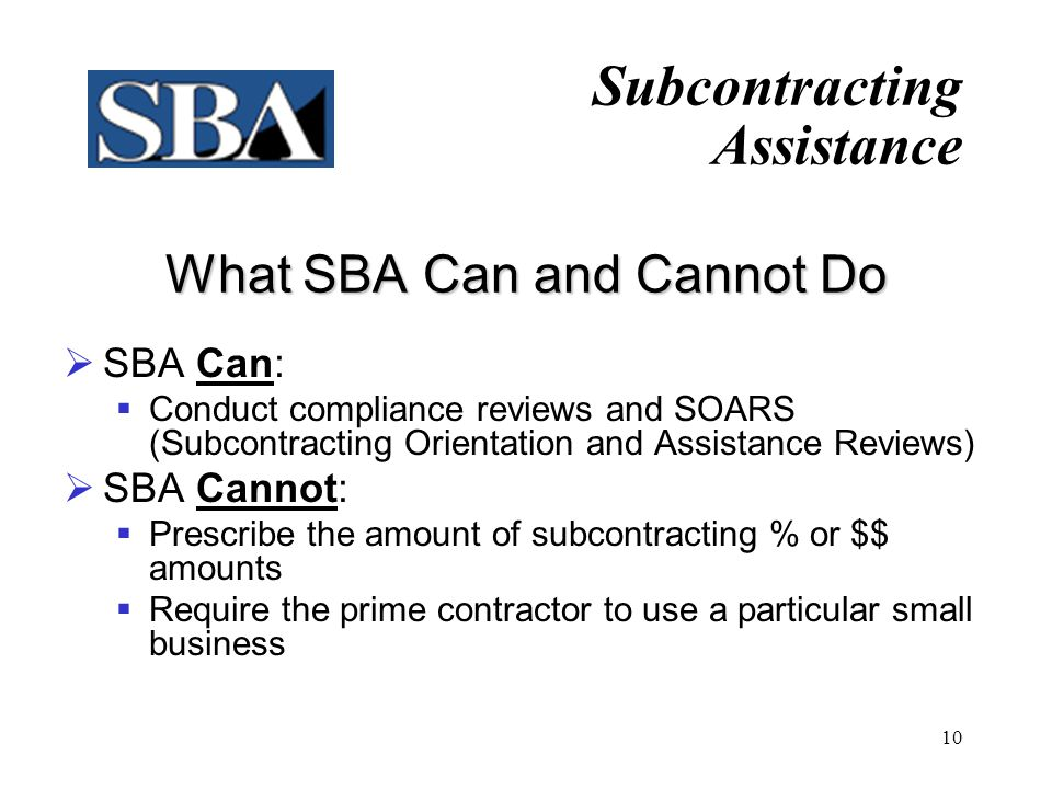 What SBA Can and Cannot Do
