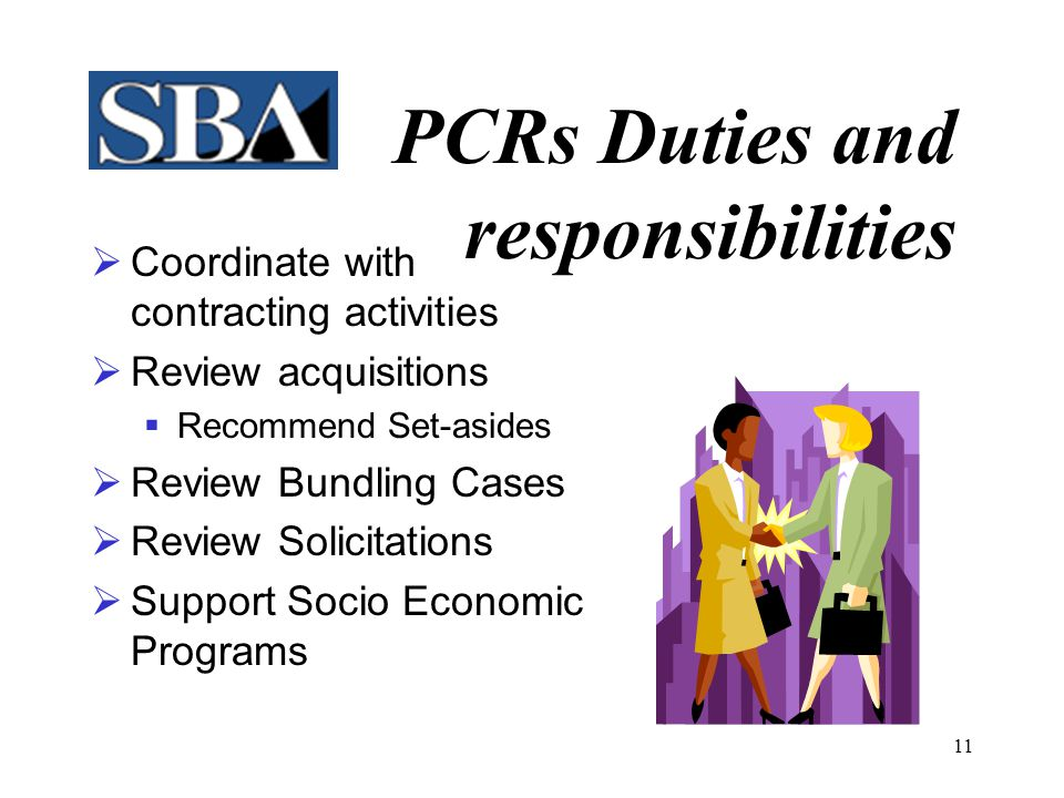 PCRs Duties and responsibilities