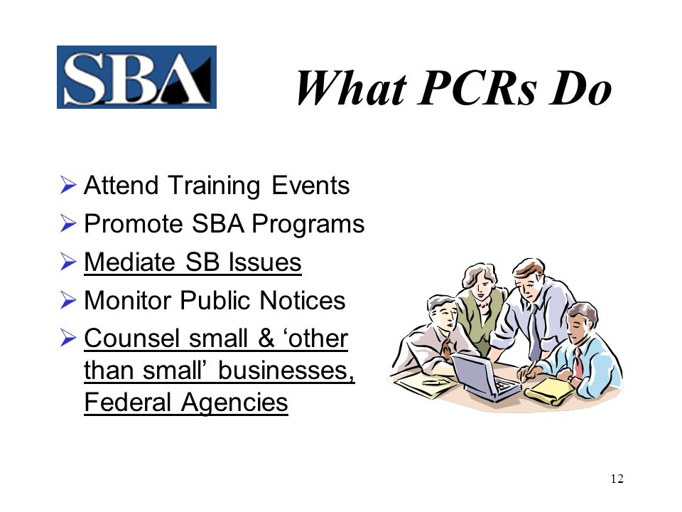 What PCRs Do Attend Training Events Promote SBA Programs