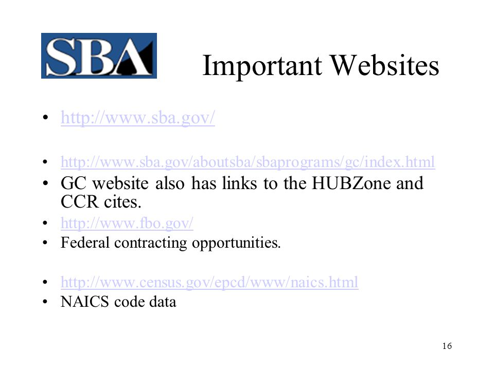 Important Websites http://www.sba.gov/