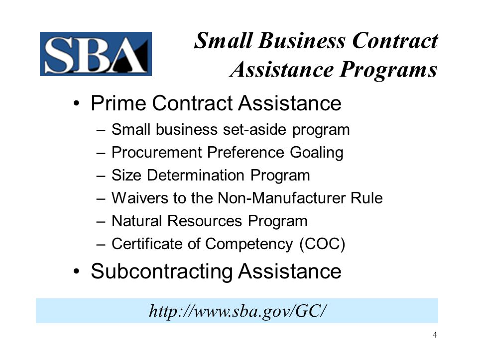 Small Business Contract Assistance Programs