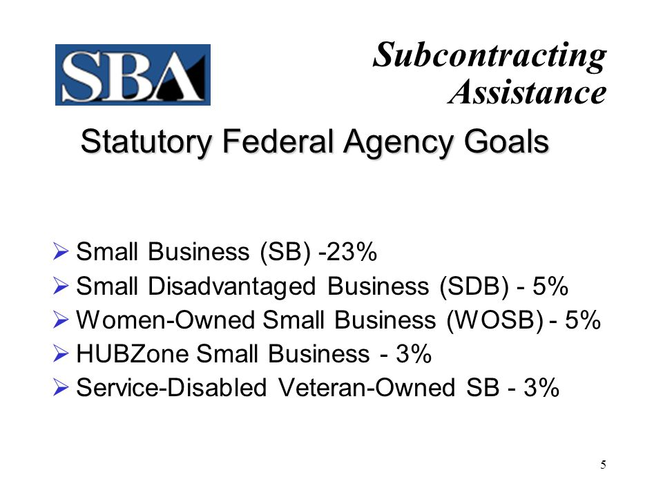 Statutory Federal Agency Goals