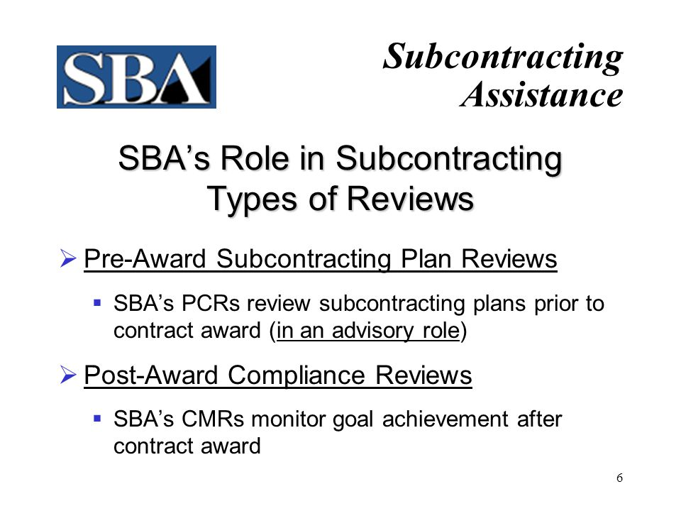 SBA's Role in Subcontracting Types of Reviews
