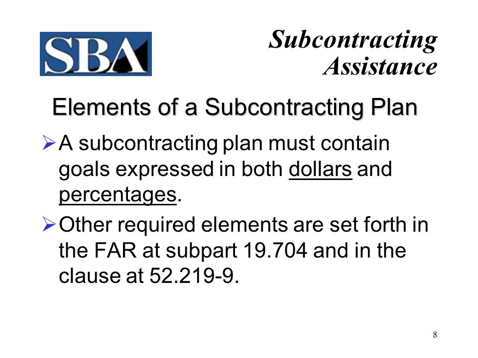 Elements of a Subcontracting Plan