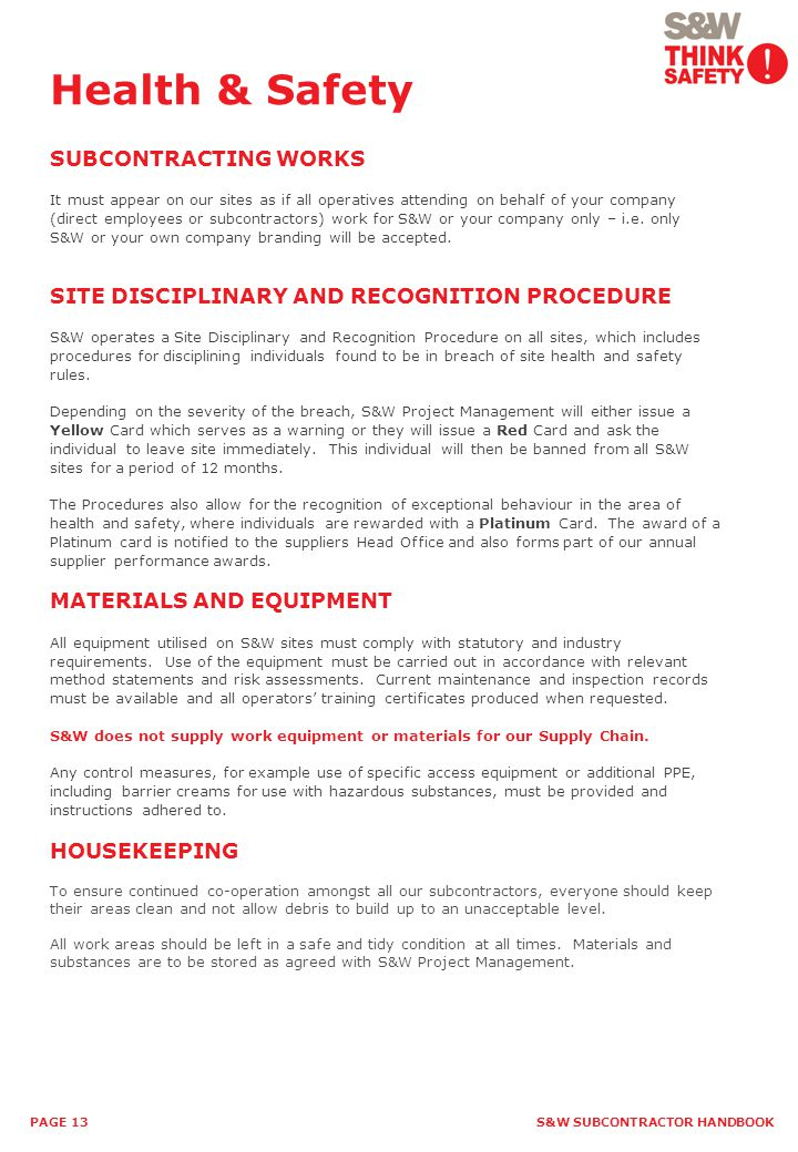 Health & Safety SUBCONTRACTING WORKS