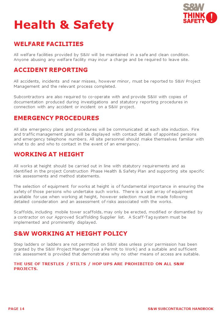 Health & Safety WELFARE FACILITIES ACCIDENT REPORTING